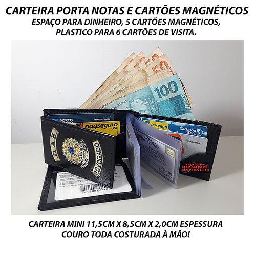 Carteira Advogada OAB porta notas e cartões COURO