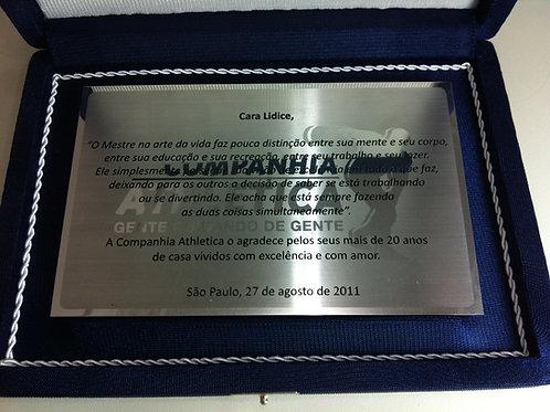 Placa de Aço Inox 10cmx16cm com estojo