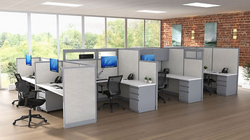 commecial space with cubicle workstations