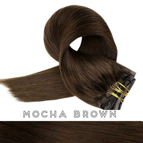 Mocha Brown - Seamless Flat Weft Clip In Extensions
