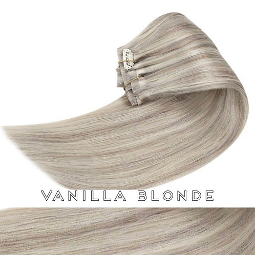 Vanilla Blonde - Seamless Flat Weft Clip In Extensions