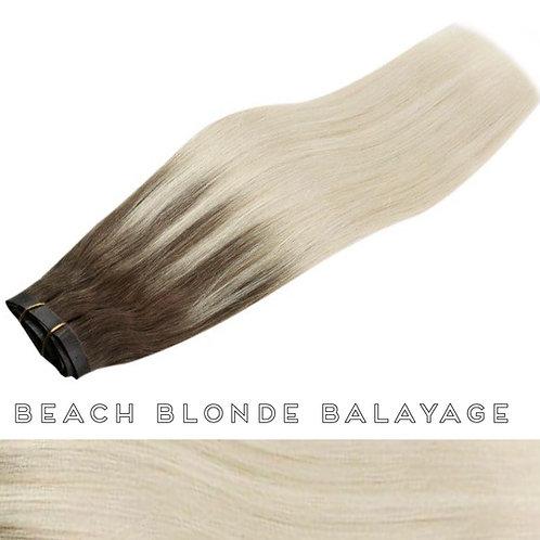 Beach Blonde Balayage - Seamless Flat Weft Clip Ins