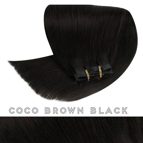 Coco Black/Brown - Seamless Flat Weft Clip In Extensions
