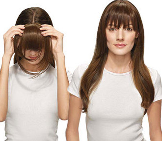 Clip on bangs instantly transform your look instantly transform your look with these easy to apply clip in bangs do it yourself clip in bang attachment made from 100 natural hair solutioingenieria Images