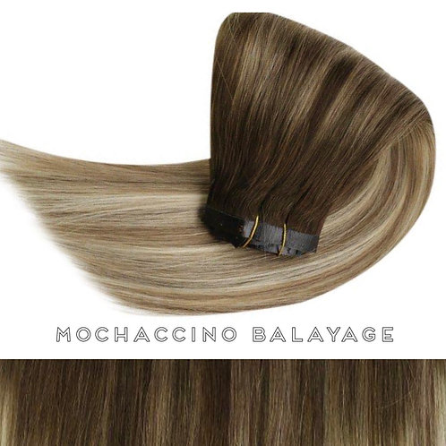 Mochaccino Balayage - Seamless Flat Weft Clip In Extensions