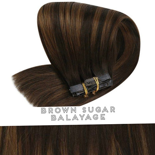 Brown Sugar Balayage - Seamless Flat Weft Clip In Extensions