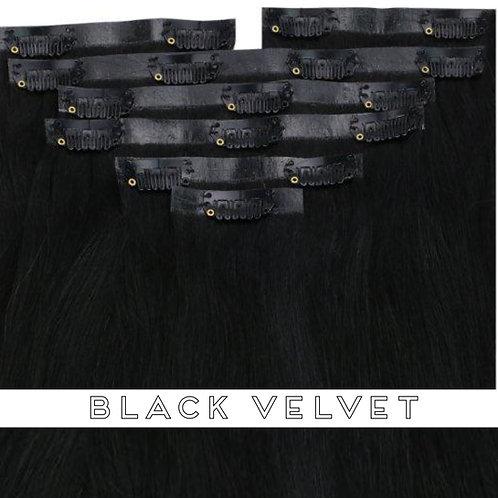 Black Velvet - Seamless Flat Weft Clip In Extensions