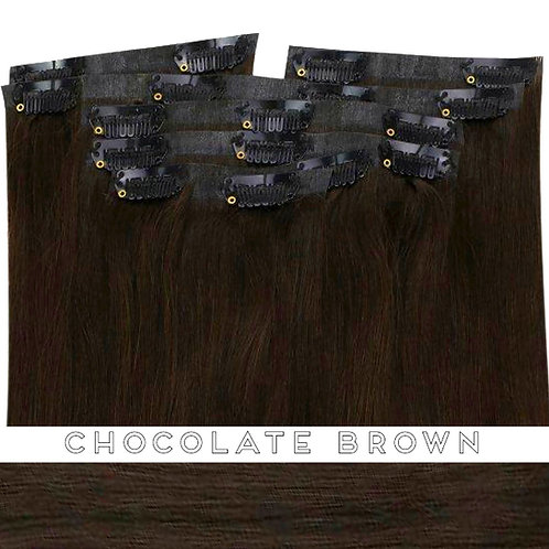 Chocolate Brown - Seamless Flat Weft Clip In Extensions