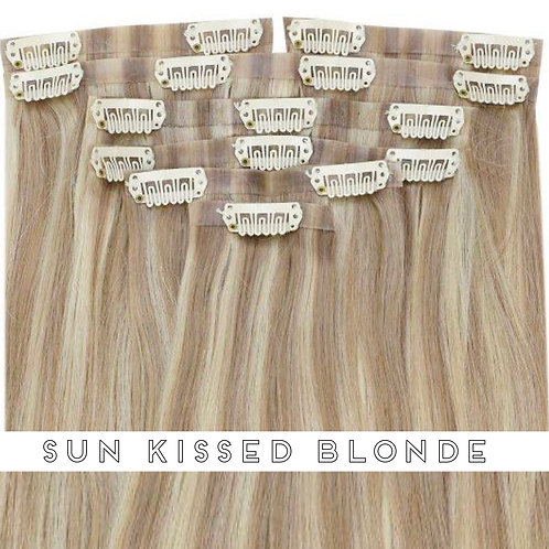 Sun Kissed Blonde - Seamless Flat Weft Clip In Extensions