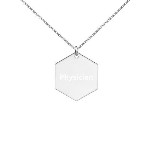 Physician Engraved Silver Hexagon Necklace
