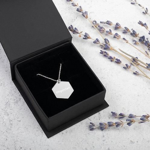 Physician Engraved Silver Hexagon Necklace