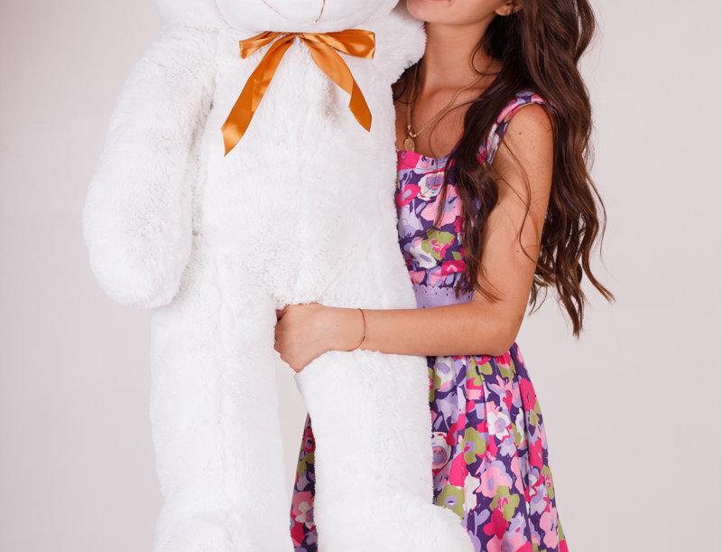Белый плюшевый мишка Нестор 120 см на подарок девушке