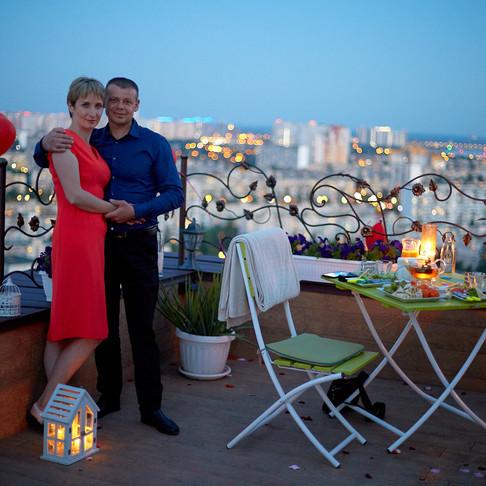 Романтический ужин на террасе на 27-м этаже