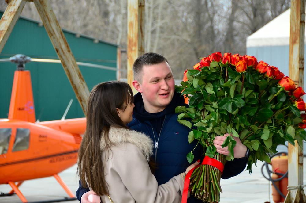 Предложение девушке в вертолете, Киев