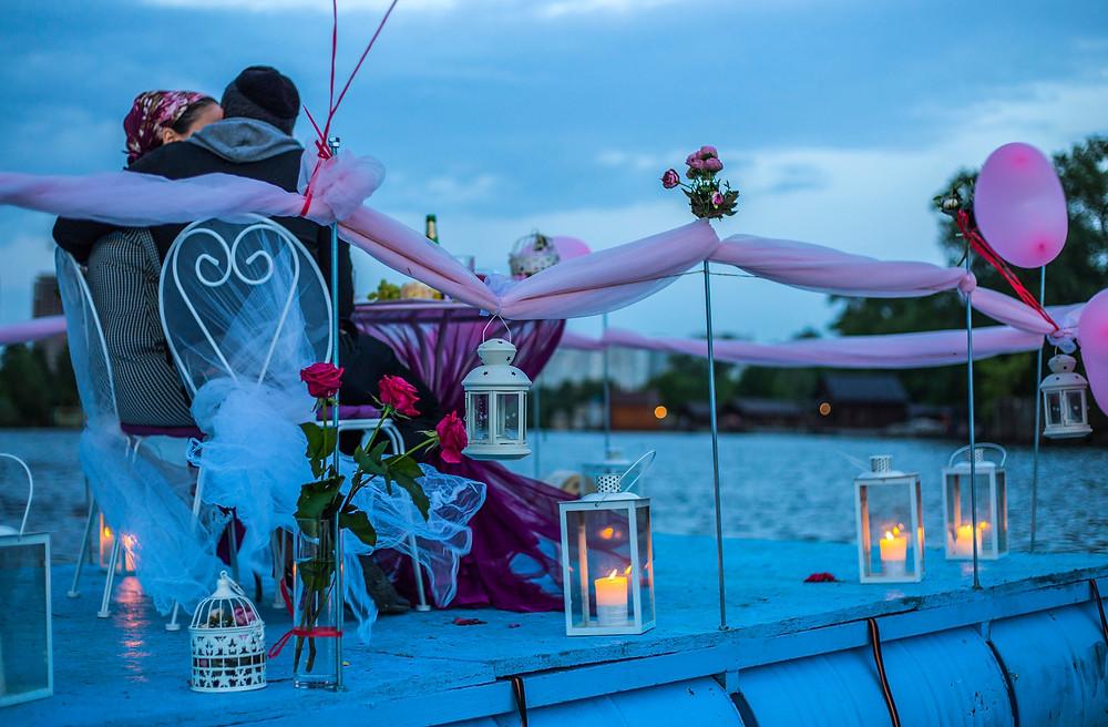 необычный ужин на плоту посреди залива, Киев, Сервис романтики Альтечо