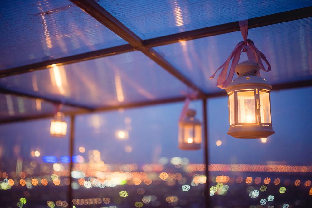 Романтический декор свидания на крыше