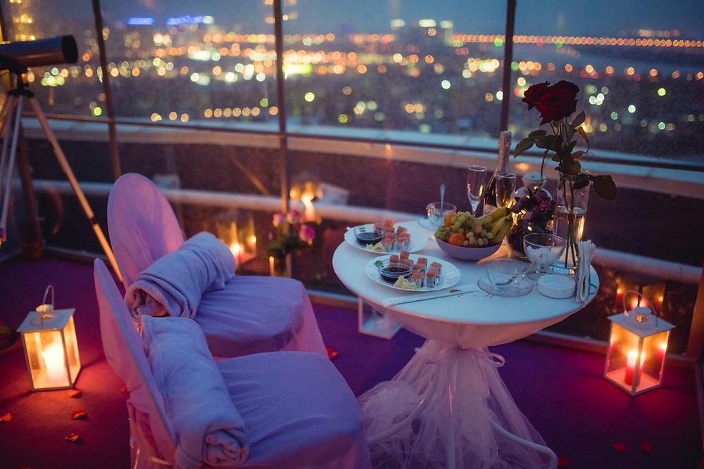 Сделать предложение, свидание на крыше