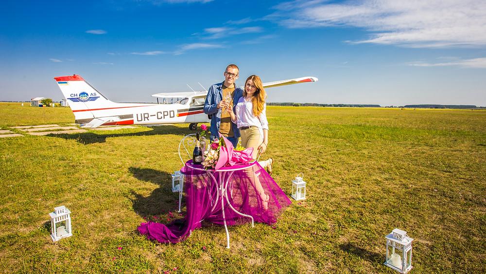 Предложение руки и сердца с прогулкой на самолете, Киев, Сервис романтики Альтечо