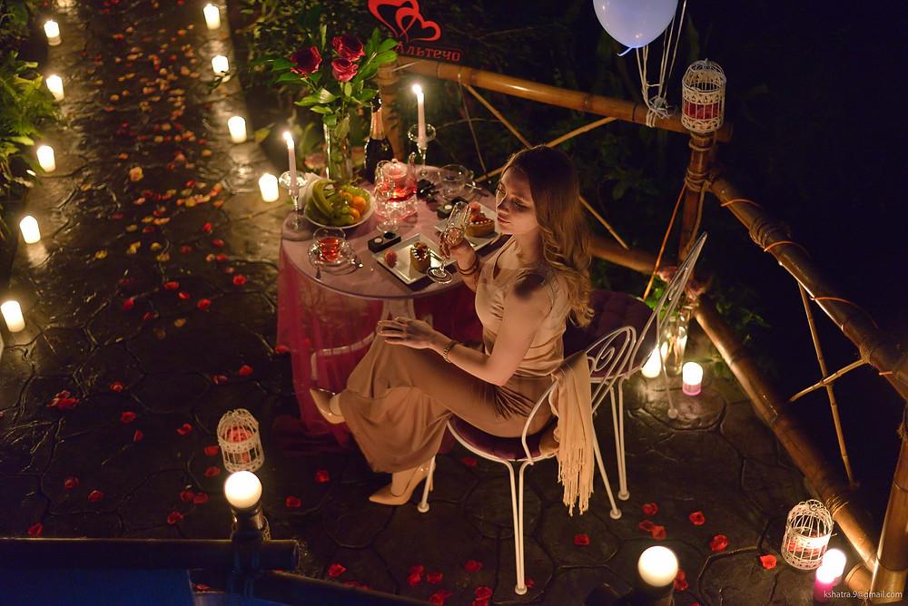 Романтический ужин в Ботаническом саду в тропической оранжере от сервиса романтики Альтечо