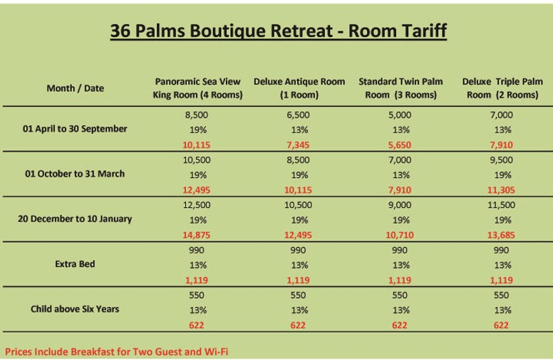 Room Tariff - 36 Palms Boutique Retreat