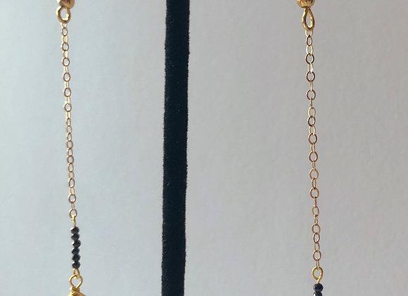 14k Gold Pyrite & Smoky Quartz