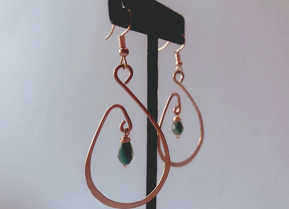 Hammered Copper Labradorite Hoops