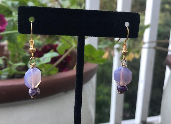 Purple Glass Bead Drop Earrings