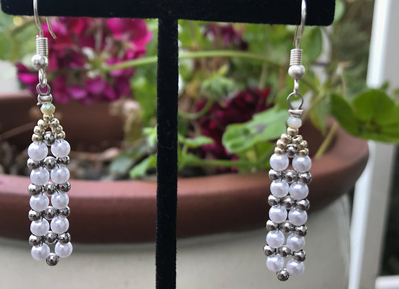 White and Gold Weaved Dangle Earrings