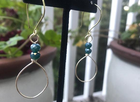 Green Glass Bead Circle Drop Earrings