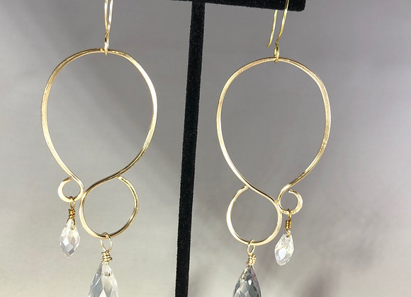Hammered Dangle Earrings with Clear Briolettes