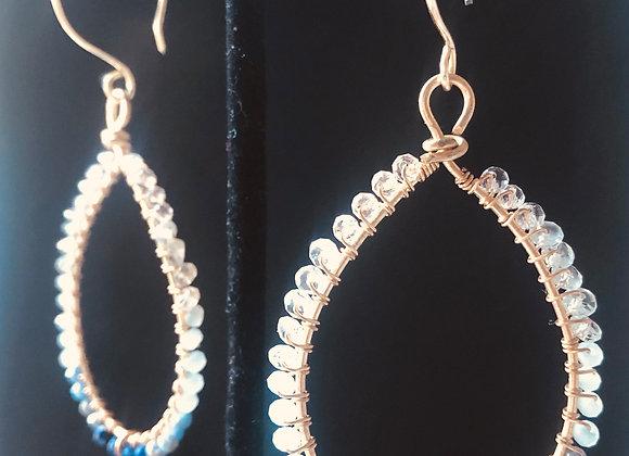 Lapis, Aquamarine and Quartz Gold Hoops