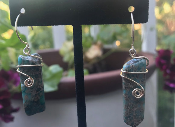 Wrapped Turquoise Drop Earrings