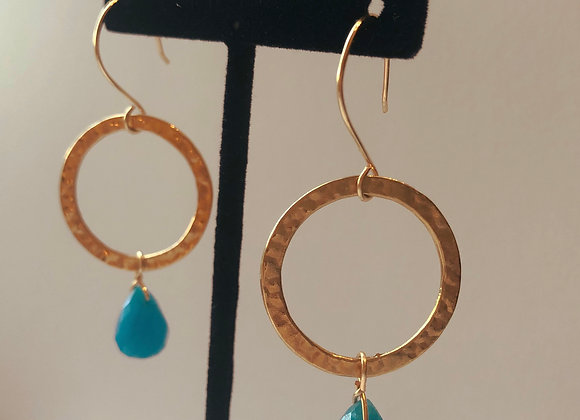 Golden Hooped Turquoise Drops