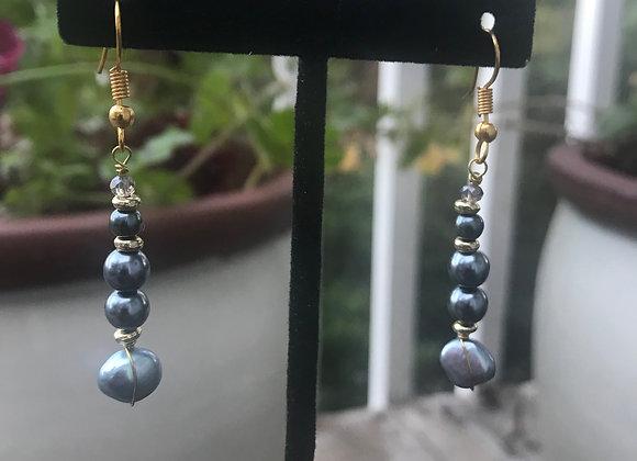 Blue Grey Freshwater Pearl Earrings