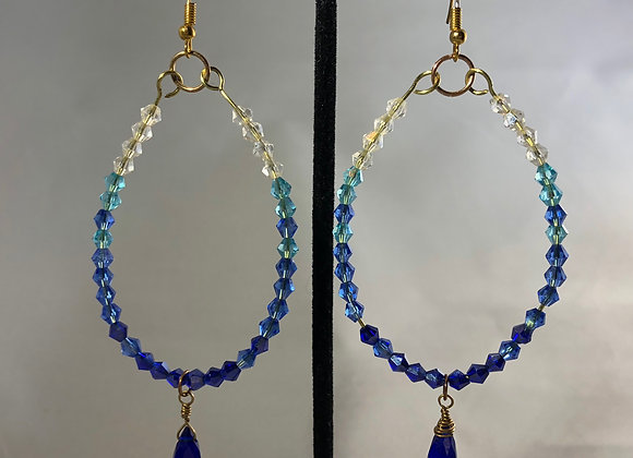 Glass Beaded Hoops w/Briolettes