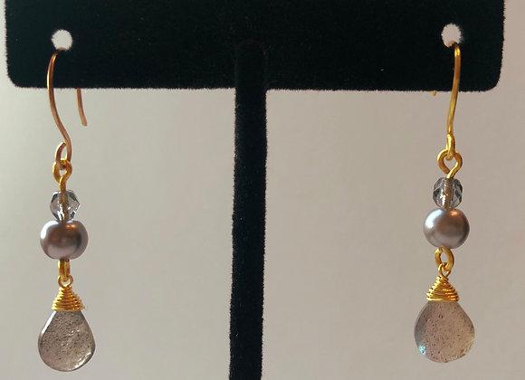 Pearl and Labradorite Drops