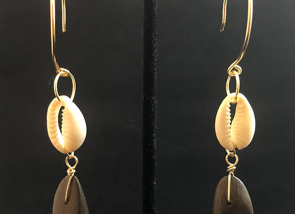 Cowry Shell and Wood Dangles