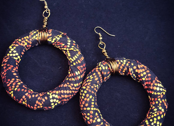 African Dotted Fabric Hoops
