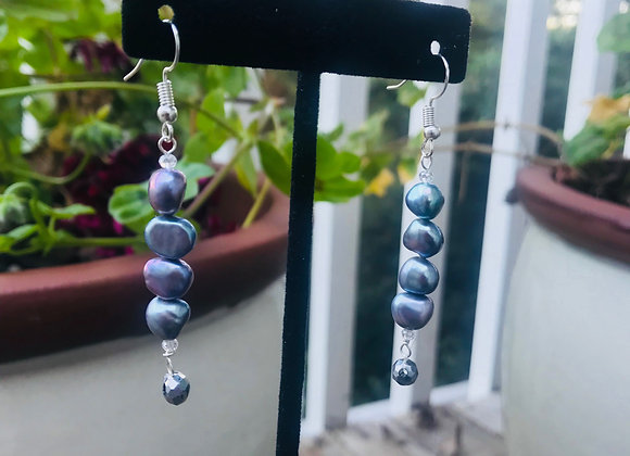 Stacked Freshwater Pearl Drop Earrings