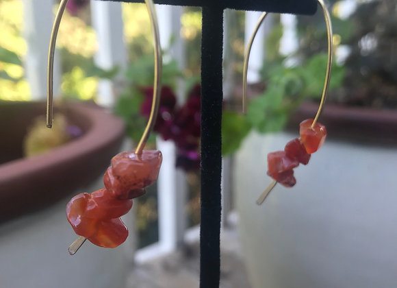 Threader Red Jade Crystal Earrings