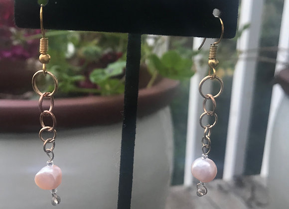 Drop Chain Pearl Earrings