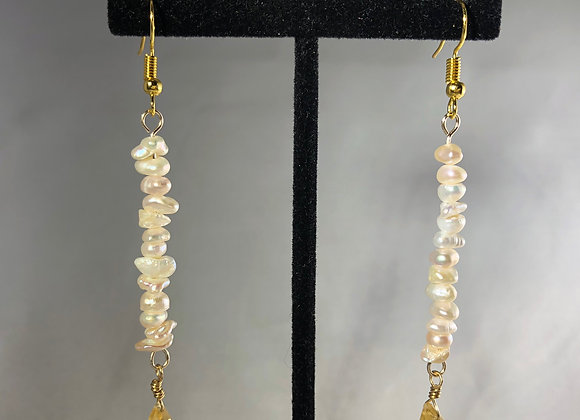 Small Pearl and Citrine Drops
