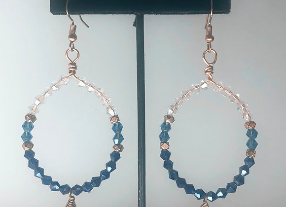 Blue Two Toned Hoops
