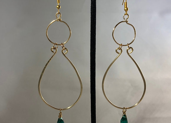 Hammered Gold Dangles with Green Briolettes