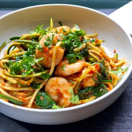 Spicy tomato and prawn courgetti.