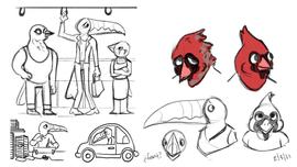 Original Bird Concept Sketch Page 3