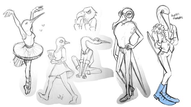 Original Bird Concept Sketch Page 1