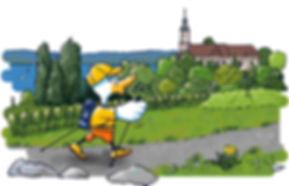 Lakey wandert an der Wallfahrtskirche Birnau