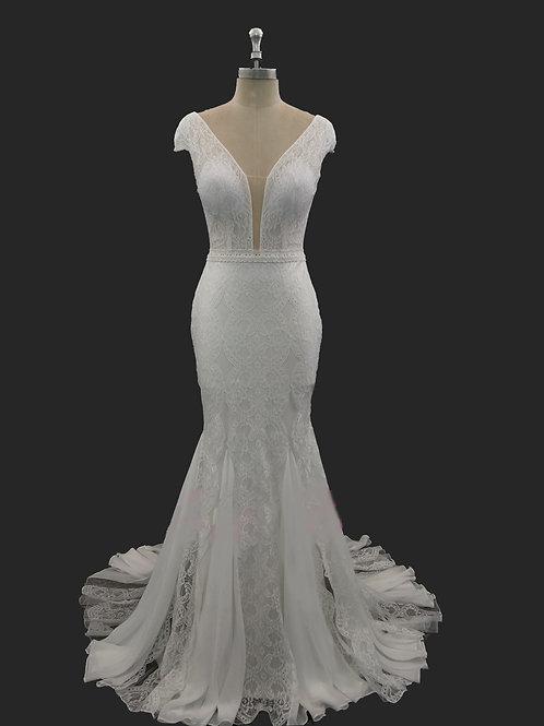 Plunging Neckline Lace Dress