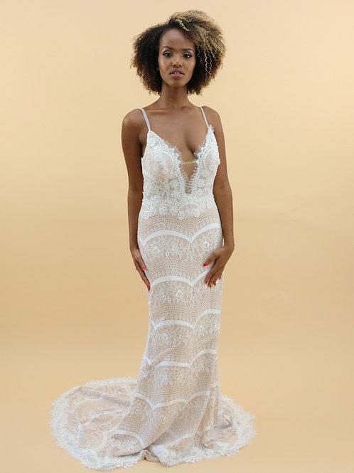 Spaghetti Strap Fit & Flare Gown